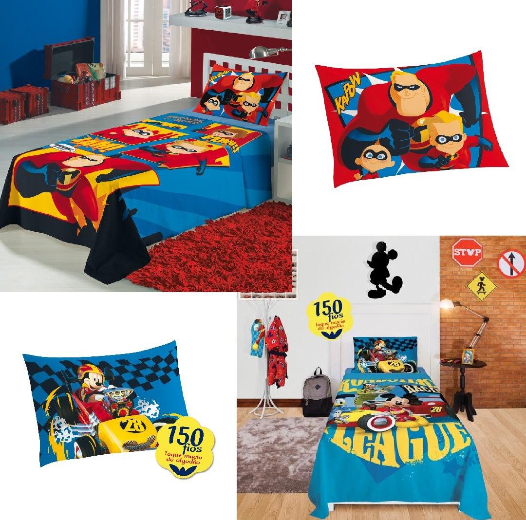 77d409bbb5 Kit Jogo De Cama 2 Pçs. Mickey +jogo Cama 2pçs. Os Incríveis - R ...