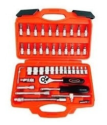 kit jogo de chaves soquetes e bits corneta 46pc profissional