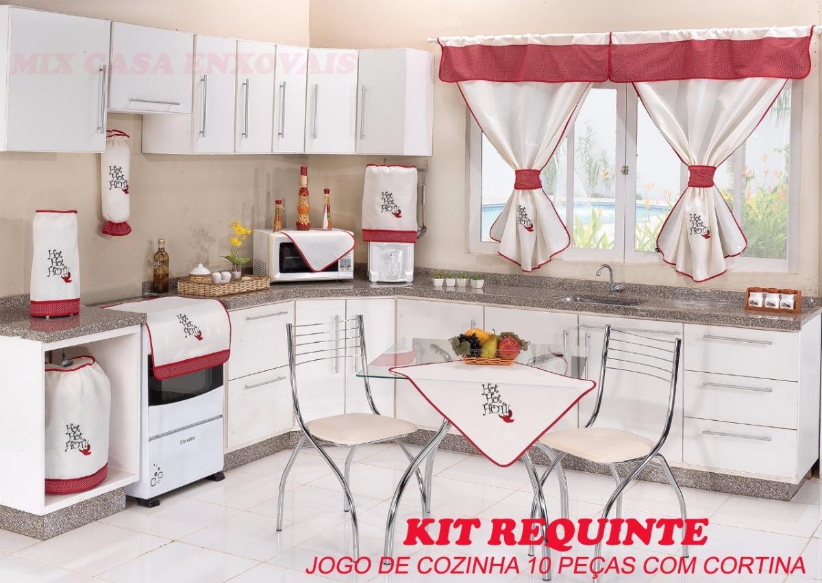 Kit Jogo De Cozinha C Cortina 10 P Hot Hot Promo O R 99 90 Em