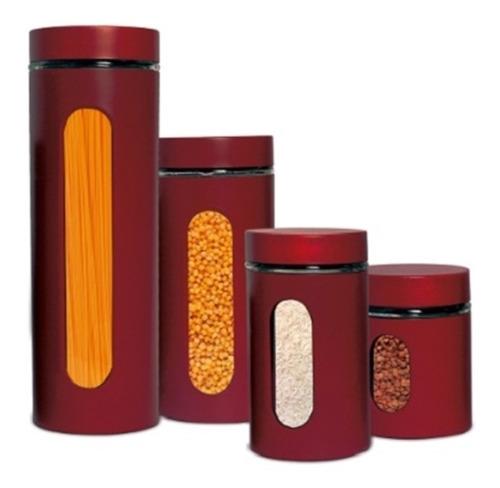 kit jogo de potes porta mantimentos ana maria braga vermelho