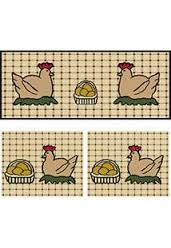kit jogo de tapete sisal 3 pçs antiderrapante galinha