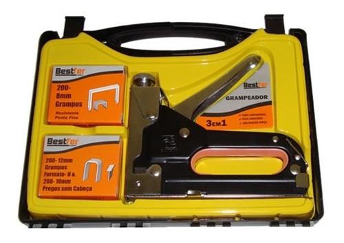 kit jogo grampeador e pinador profissional tapeceiro+ maleta
