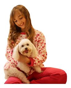 c891a8267919cc Kit Jogo Pijama Feminino Inverno Com Pet Cachorro Lindo Rosa