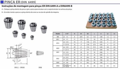 kit jogo pinças er16 router cnc fresa torno frete grátis 11p