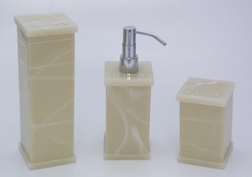 Kit banheiro acrilico branco : Kit jogo potes lavabo acr?lico travertino strass cristal