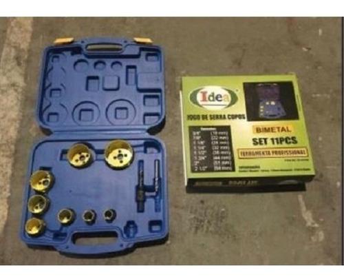 kit jogo serra copo bi-metal 19 - 64mm 11 peças com maleta