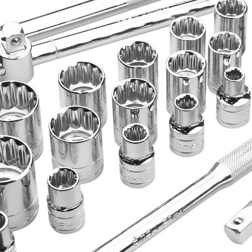 kit jogo soquetes 1/2 pol 23 peças 8 a 32mm 110023 mayle