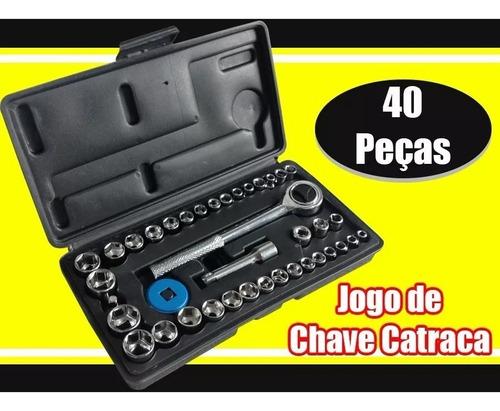 kit jogo soquetes sextavado c/ catraca 40 pcs  fertak