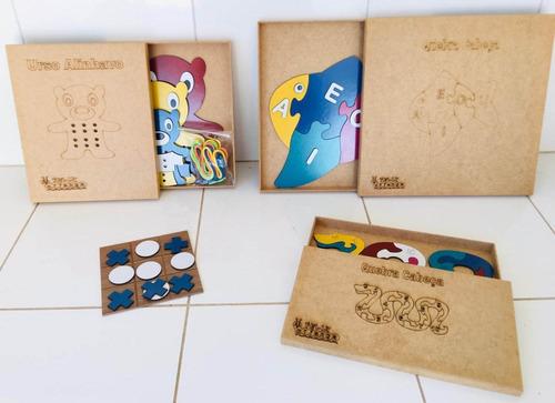 kit jogos educativo em mdf - 4 jogos