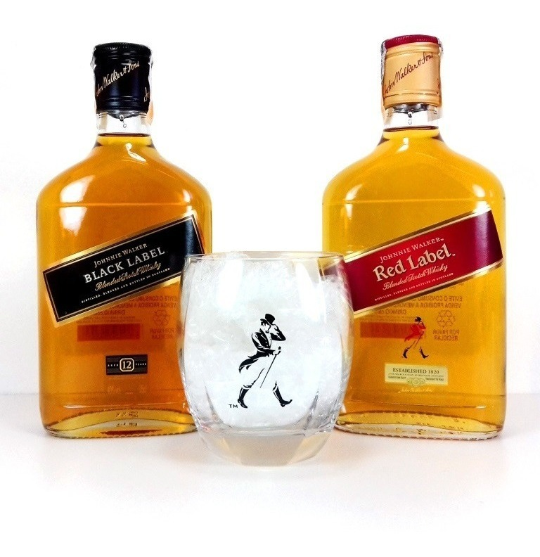Kit Johnnie Walker Red Label + Black + Copo Whisky + Balde