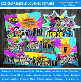 Kit Jóvenes Titanes Teen Titans Invitación Etiquetas Fiesta