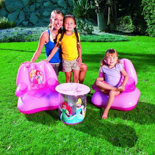kit juego de sillas y mesa inflables princesas de disney
