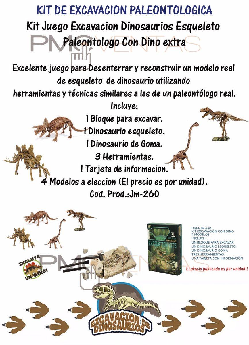 Kit Juego Excavacion Dinosaurios Esqueleto Dino Extra Paleon - $ 734 ...