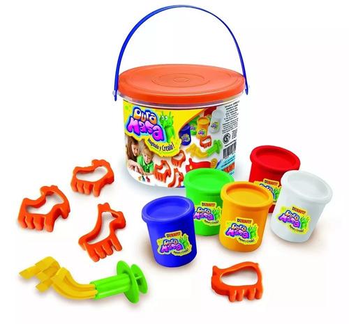 kit juego fabrica de dura masa balde + 10 potes plastilina