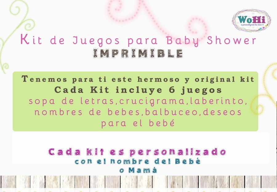 Kit Juegos Baby Shower Personalizados Imprimibles 65 00 En