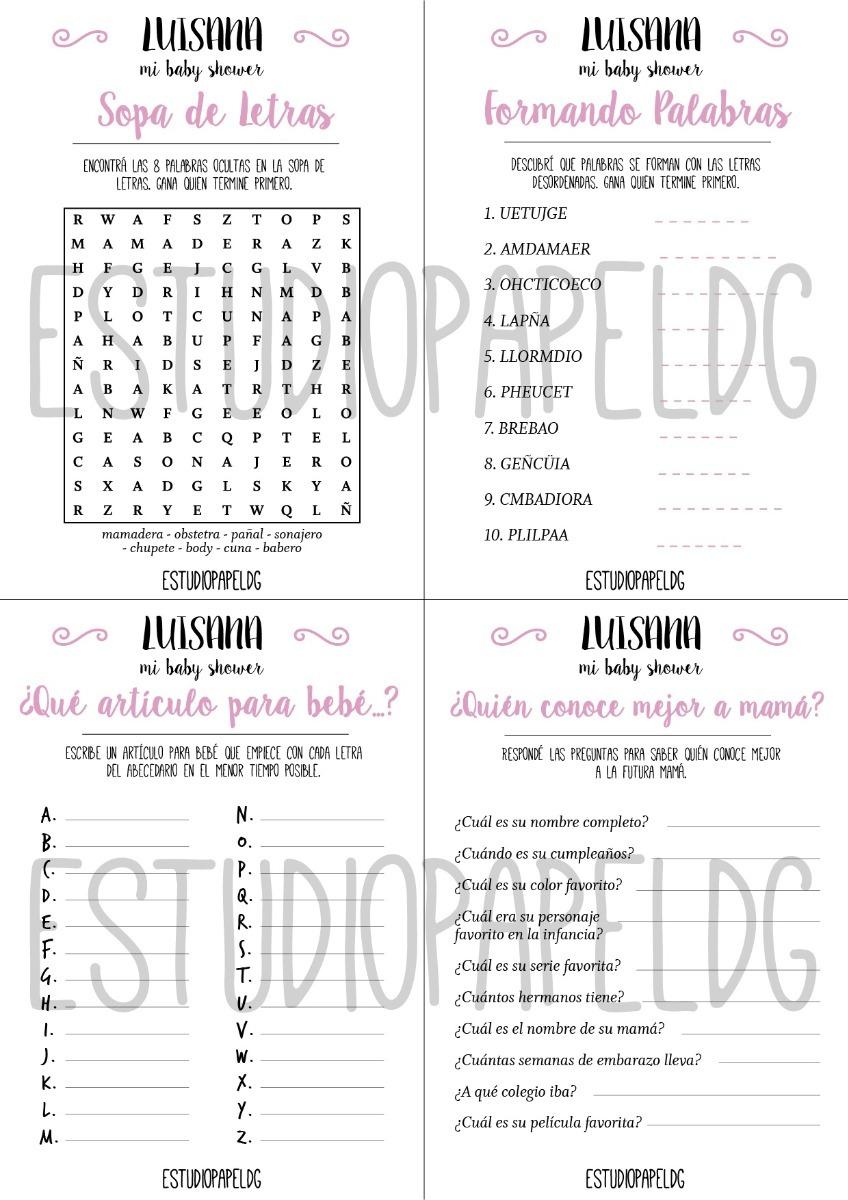 Kit Juegos Para Baby Shower Digital Para Imprimir 75 00 En