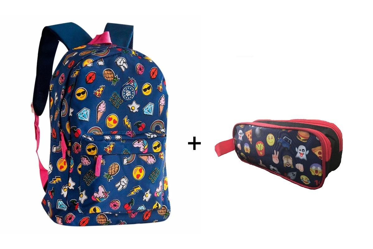 c690fa67b kit juvenil mochila estojo duplo emoji clio moda escolar. Carregando zoom.