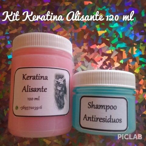 kit keratina 120 ml + shampoo (1 a 2 alisados)