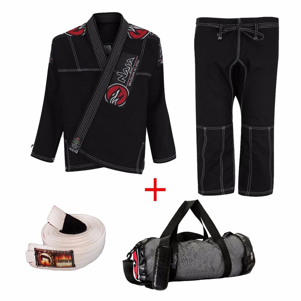 4afbd92df Kit Kimono Masc. Naja Jiu Jitsu - Preto + Bolsa Naja + Faixa - R ...