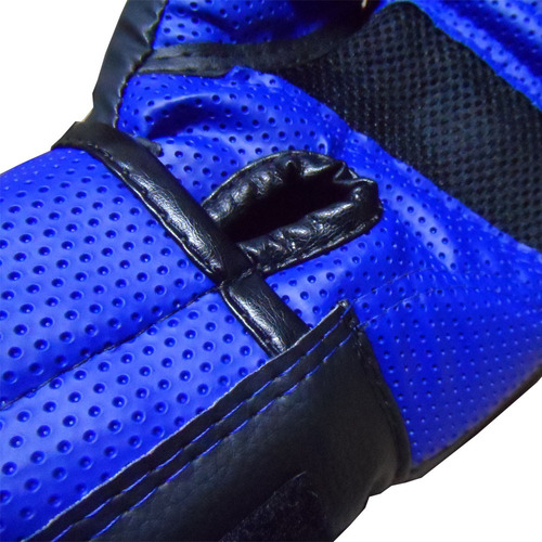 kit ktx33 luva boxe tanoshi cx azul + bandagem + bucal