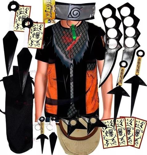 kit kunai naruto ninja camisa naruto shippuden kurama k75
