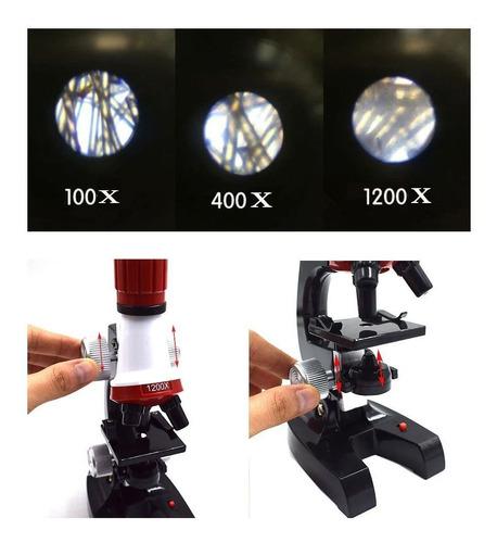 kit laboratório microscópio 100x a 1200x brinquedo educativo