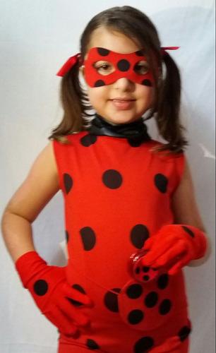 kit ladybug verão fantasia completa +luvas+mascara+bolsa +io