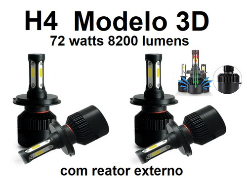 kit lampada led h4 3d 72w 6000k 8200 lumens super branca