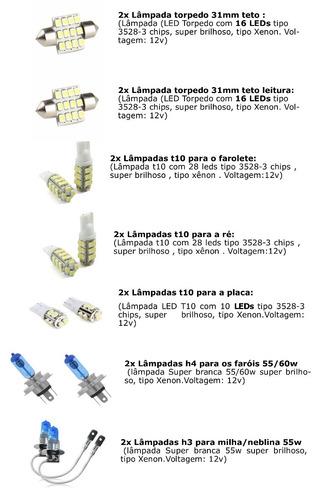 kit lampada led + super branca farol/milha jac motors, j3
