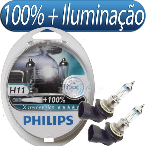 kit lampada philips xtreme vision h11 55w 12v  original