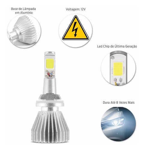 kit lampada super led h27 6000k 6400 lumens/par branca 12v