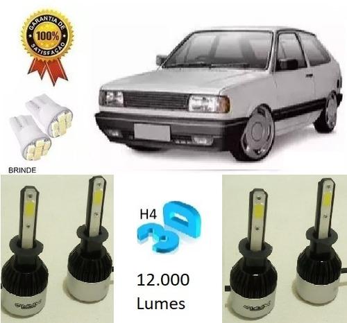 kit lampada xenon ultra led 6000k gol quadrado farol e milha