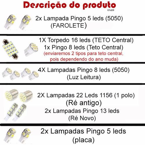 kit lampadas led chevrolet cruze sedan/hacth teto/ré/farol/p