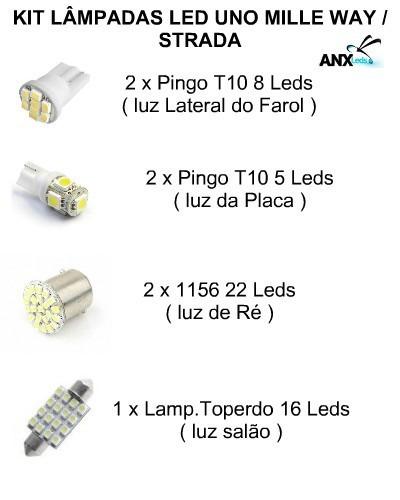 kit lampadas led fiat uno mille way fire strada frete 8,00