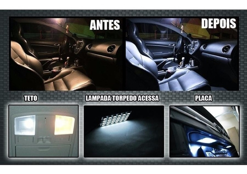 kit lampadas led + super branca farol/milha honda new civic