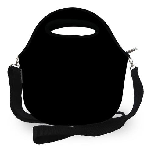 kit lancheira + mini lancheira com alça - isoprene - preto