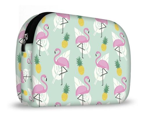 kit lancheira + necessaire + squeeze - flamingos isoprene