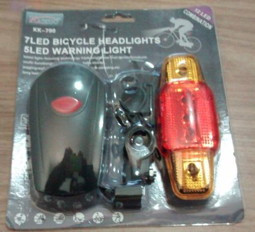 kit lanterna de bike 7 leds  - dianteira e  5 leds traseira
