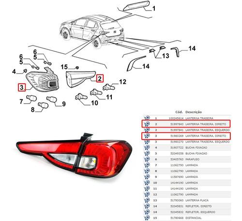 kit lanterna traseira fixa + móvel direito argo hgt 2020