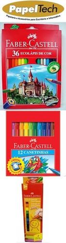 kit lapis de cor, canetinha , giz de cera faber castell