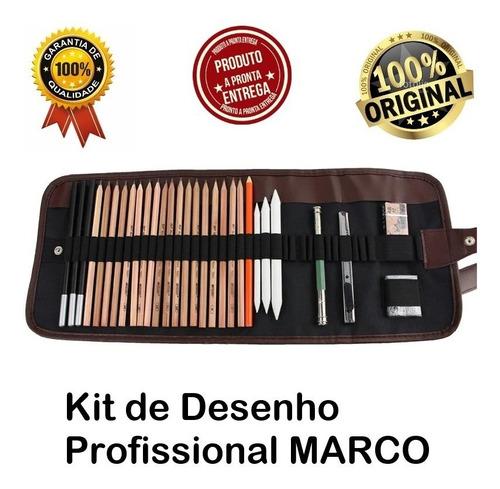 kit lápis desenho profissional 29pcs marco original