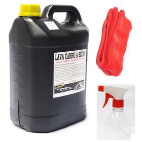 Kit Lava Carro A Seco Cera Carnaúba Alto Brilho Microfibra