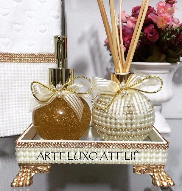 Kit Para Banheiro Decorado : Kit lavabo luxo bandeja aromatizador decorado p