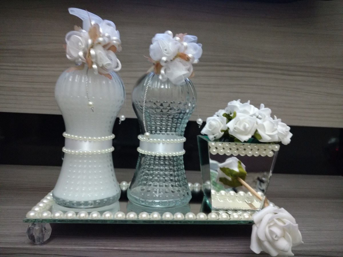 Kit Banheiro Casamento Luxo : Kit lavabo luxo sabonete difusor bandeja p?rolas casamento