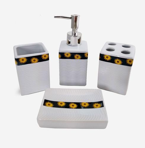 kit lavabo p/ banheiro sabonete líquido porta escova branco