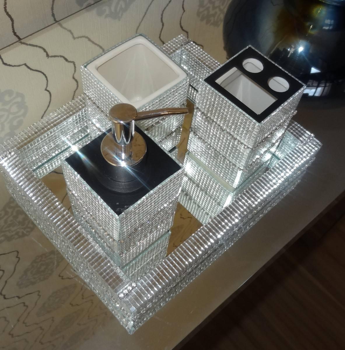 Buffet Aparador Adega ~ Kit Lavabo banheiro 3 Pç (bandeja saboneteira Liquida Etc) R$ 195,00 em Mercado Livre