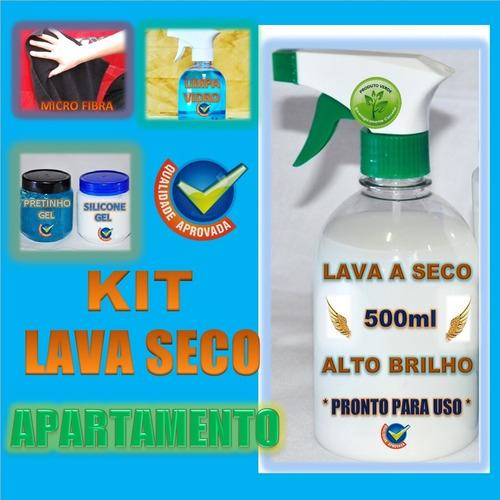 kit lavagem a seco silicone pretinho microfibra limpa vidro