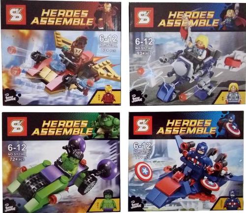 kit lego 4 naves c/ bonecos thor hulk capitão homem de ferro
