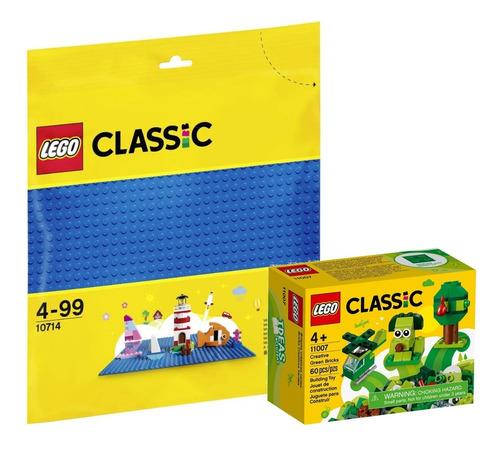 kit lego classic peças verdes criativas + base azul