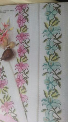 kit lençol  4 peças   de casal em ponto cruz
